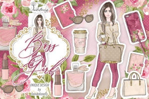 成功女性人物塑造水彩手绘剪贴画PNG素材 Boss Girl design插图1