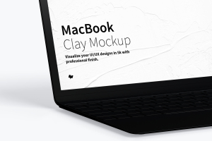 MacBook陶瓷黏土材质笔记本电脑UI设计预览左视图样机 Clay MacBook Mockup, Left View插图2
