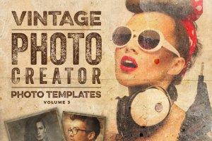 复古怀旧风格照片效果处理PSD图层 Vintage Photo Creator插图1