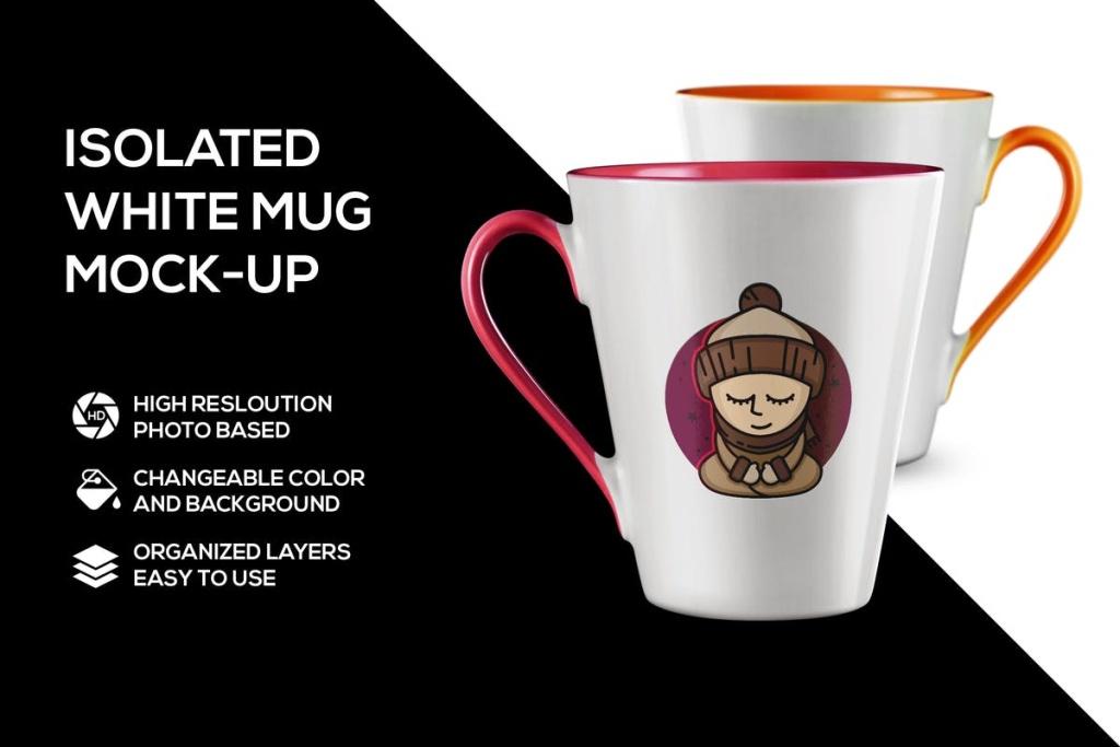 白色马克杯创意图案设计样机模板 White mug mockup插图