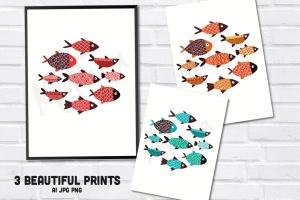 手绘鱼图案矢量图形设计素材 Fishes插图3