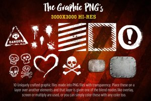 Procreate专用Grunge骷髅风格巨无霸笔刷套装插图(7)