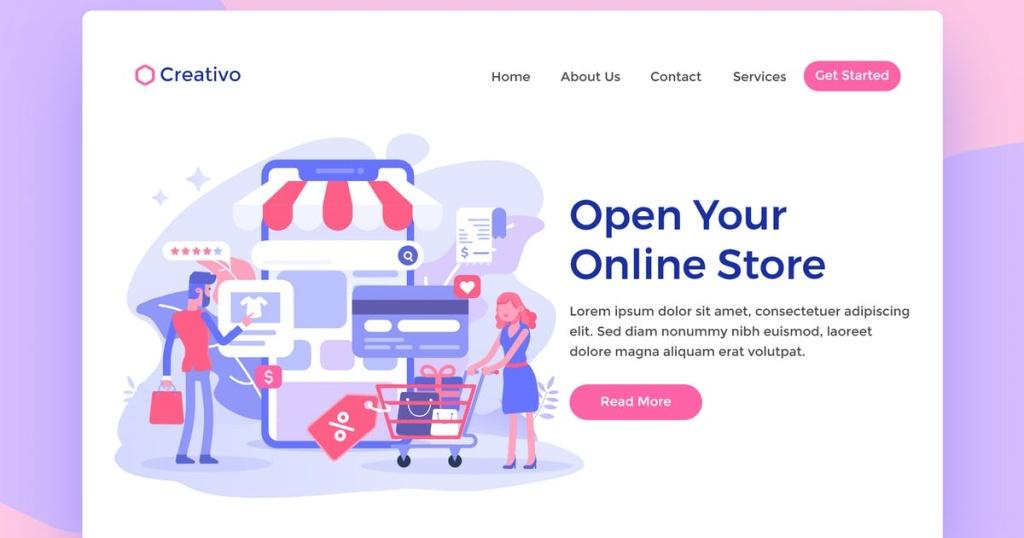 网站着陆页设计在线商店Web购物插画素材 Open Online Store Web Landing Page Illustration插图