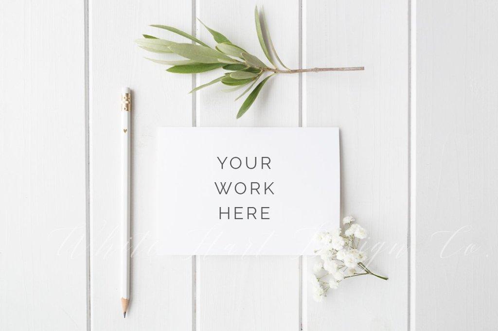 极简A6结婚卡风格样机模板 Styled stock photo – A6 wedding card插图