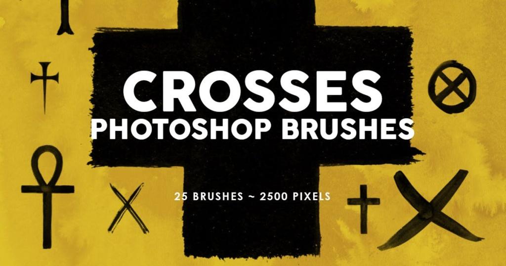 25个十字交叉画笔图案PS印章笔刷 25 Crosses Photoshop Stamp Brushes插图