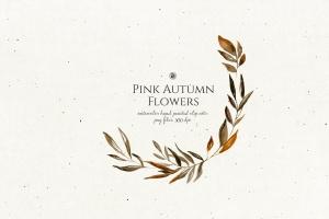 秋天粉色手绘花卉插画PNG素材v2 Pink Autumn Flowers vol.2插图2