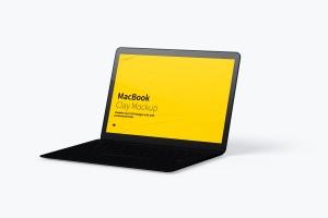 MacBook笔记本电脑屏幕演示右视图样机 Clay MacBook Mockup, Right View插图4