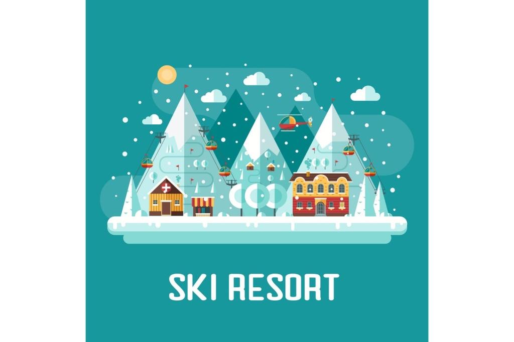 冬季滑雪场扁平设计风格场景插画 Winter Ski Resort Flat Landscape插图