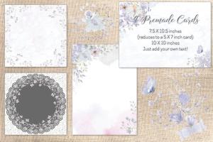 烟灰色水彩花卉手绘图案PNG素材 Smoky Grey Florals Watercolor Design Set插图7