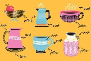 AI手绘插画必备的50个笔刷&60种图案纹理 Patts Brush Collection for Adobe Illustrator插图3