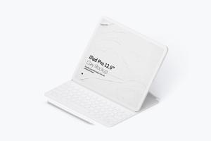 "12.9寸带键盘iPad Pro平板电脑等距右视图样机 Clay iPad Pro 12.9"" Mockup, Isometric Right View With Keyboard插图1"