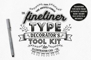 字体文本手绘装饰元素AI设计工具套件 Fineliner Type Decorator's Tool Kit插图1