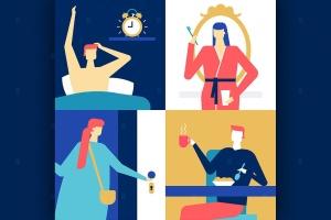 日常工作场景扁平设计风格矢量插画 Daily routine – flat design style illustration插图1