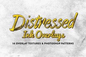14款仿旧做旧风格油墨图层样式 14 Distressed Ink Overlays插图1