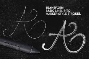 绘画马克笔记号笔AI画笔笔刷 Marker Illustrator Brushes插图(5)