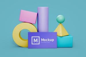 企业名片设计立面效果图样机模板 Business Card Still Life Mockup插图1