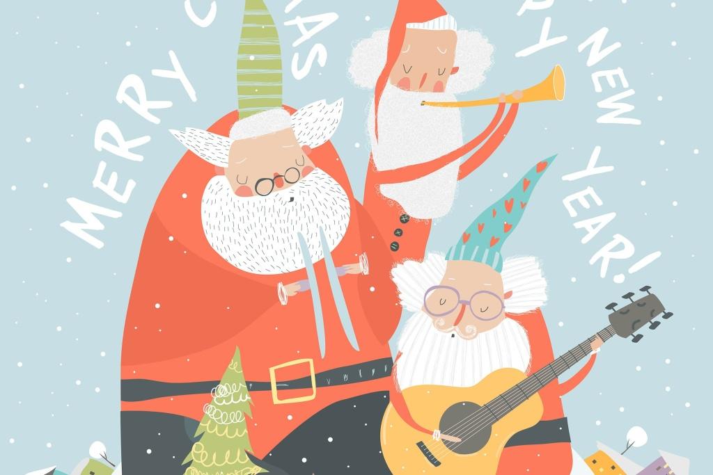 演奏乐器圣诞老人矢量手绘设计素材 Funny Santa Clauses playing musical instruments. V插图