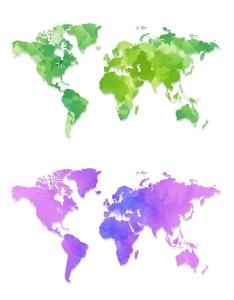 4款世界地图水彩手绘矢量图形素材 4 Maps Watercolour Design插图3