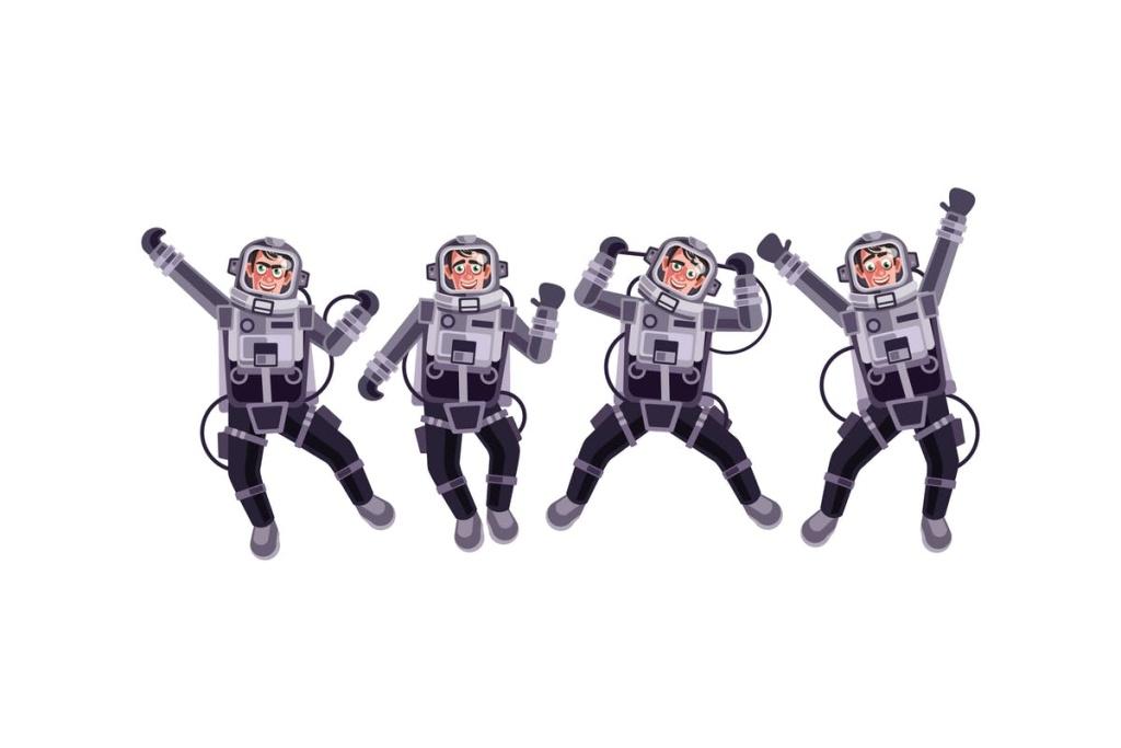 太空宇航员矢量插画设计素材 Astronaut Character Set Graphics Vector插图