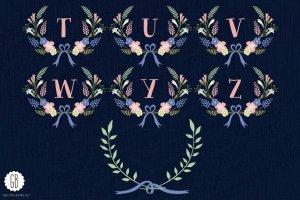 花环桂冠花背景装饰素材 Floral wreaths laurels monogram C75插图4