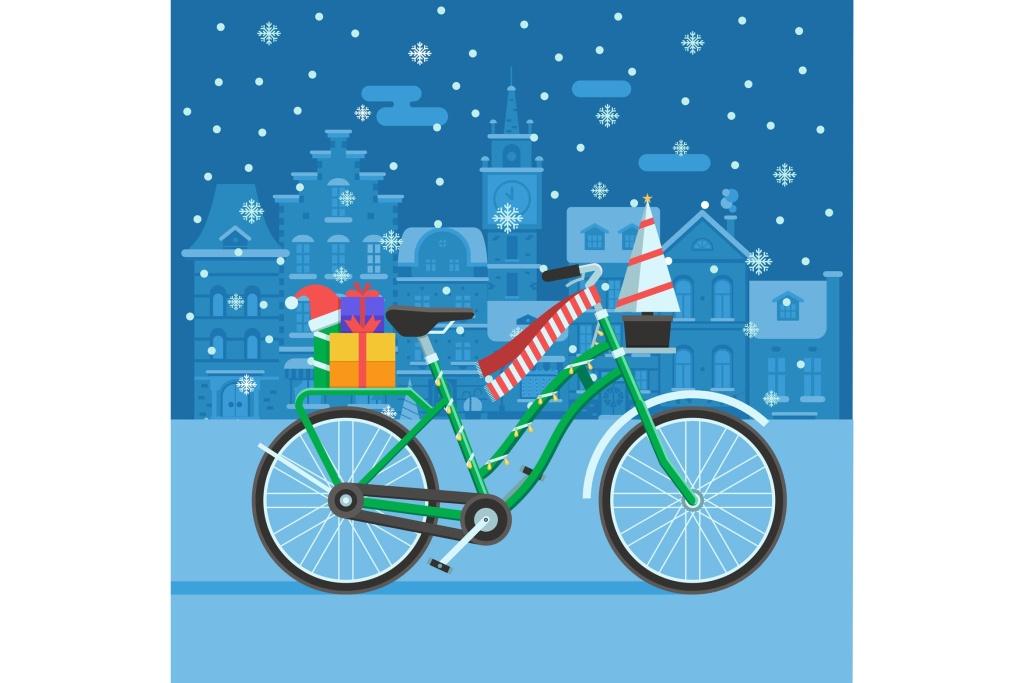 圣诞礼物自行车矢量插画设计素材 Winter Bike With Christmas Gifts插图
