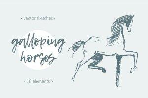 一套简笔手绘马矢量图  Set of hand drawn horses插图1