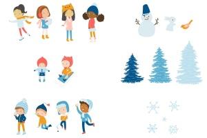 冬天儿童乐园矢量插画设计素材 Winter Fun Vector Graphic Set插图(6)