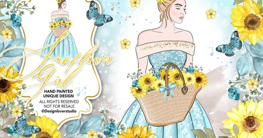 向日葵女孩水彩手绘插画设计素材 Sunflower Girl design插图