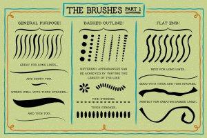创意粗笔轮廓画笔笔刷 Outline Brushes插图3