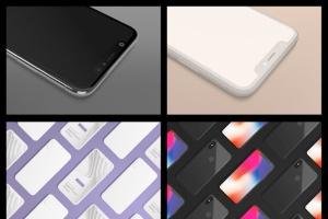 黑色iPhone X设备UI设计展示样机套装 iPhone X Mockup Set插图2
