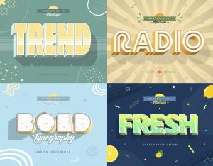 3D孟菲斯风格海报标题字体PS图层样式 Memphis Style – Text Effects插图3