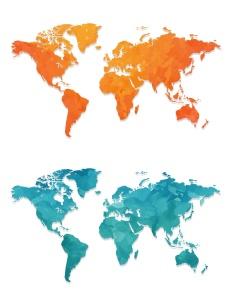 4款世界地图水彩手绘矢量图形素材 4 Maps Watercolour Design插图2