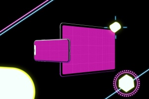 霓虹灯背景iPhone XS & iPad Pro样机模板 Neon iPhone XS & iPad Pro插图12