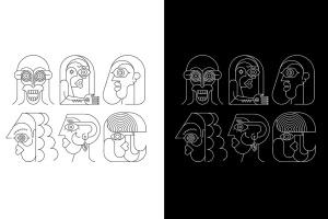 六幅霓虹灯肖像线条艺术矢量插画 Six Portraits Neon and 2 Line Art Options插图2