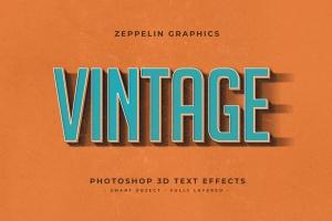 复古设计风格3D立体字体样式PSD分层模板v7 Vintage Text Effects Vol.7插图9