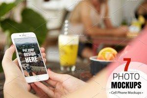 手持iPhone手机样机模板 iPhone Mockups插图1