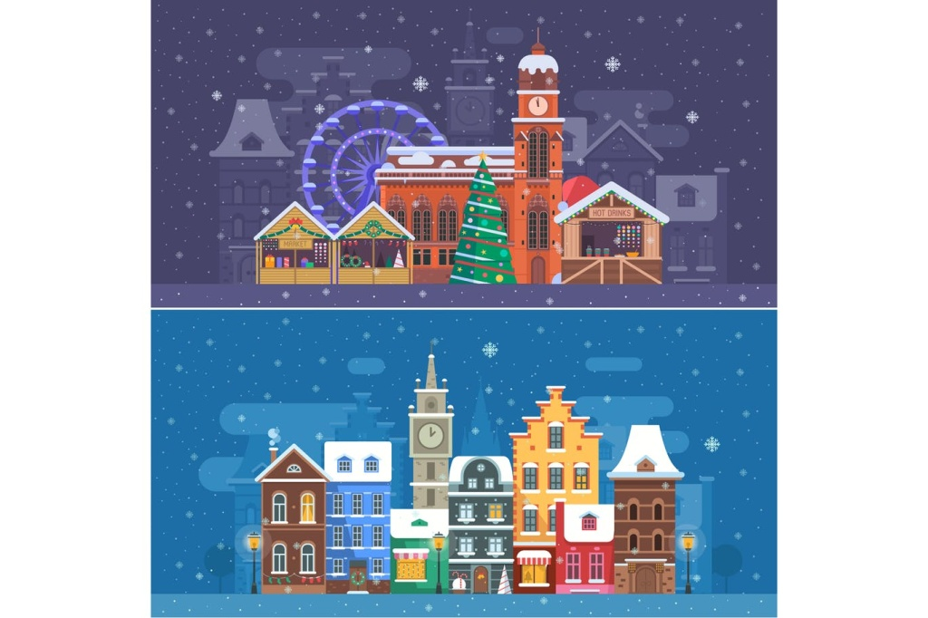 圣诞节主题雪城场景矢量插画素材 Snow City and Winter Festival Banners插图