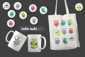 猫头鹰家族水彩手绘图案设计素材 Owls Family插图3