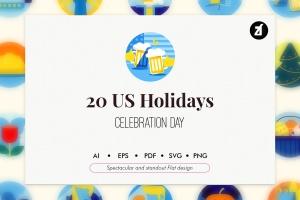 20枚美国历史元素主题一流设计素材网精选图标 20 US holiday elements插图1