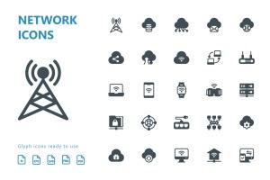 网络科技主题矢量字体一流设计素材网精选图标 Network Glyph Icons插图(2)