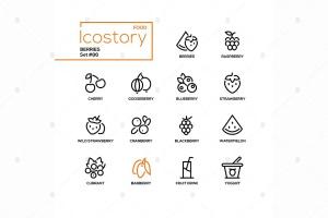 现代线条设计风格浆果主题矢量一流设计素材网精选图标 Berries – modern line design style icons set插图(1)