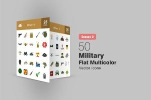 50枚军队装备主题扁平化多彩矢量一流设计素材网精选图标 II 50 Military Flat Multicolor Icons Season II插图1