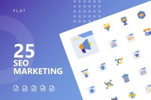25枚SEO搜索引擎优化营销扁平化矢量一流设计素材网精选图标v2 SEO Marketing Flat Icons插图1