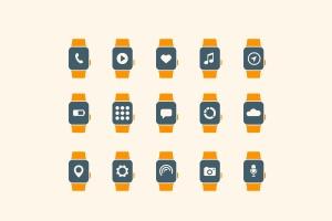 15枚智能手表APP应用主题矢量一流设计素材网精选图标 15 Smart Watch App Icons插图1