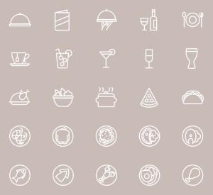 25枚餐厅菜单设计 可用的矢量线性一流设计素材网精选图标 25 Restaurant Menu Icons插图(3)