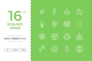 16枚生态环境主题矢量线性&Solid一流设计素材网精选图标 Ecology Icons插图1