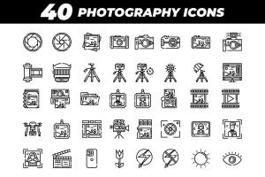 40枚摄像摄影主题矢量线性一流设计素材网精选图标 40 Photography Icons插图2