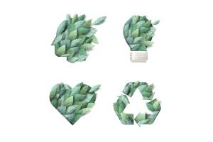 大自然绿色主题概念设计矢量一流设计素材网精选图标素材 Set of nature concept icons插图(1)