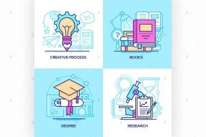 商业&在校教育主题矢量一流设计素材网精选图标 Business and online education – set of icons插图2