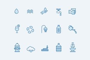 15枚供水系统主题矢量线性一流设计素材网精选图标 15 Water Icons插图2